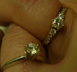 New Brides-to-Be having fun with engagement rings. Gotta love it, why not? Top, Claudia's; bottom, mine.