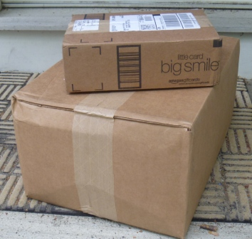 Round 1, from Amazon and Jessica's Wedding, sits on my front stoop on the day it arrived, May 9.